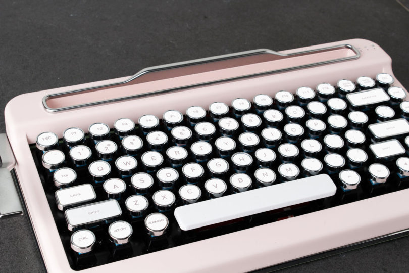 A close-up of the PENNA keyboard