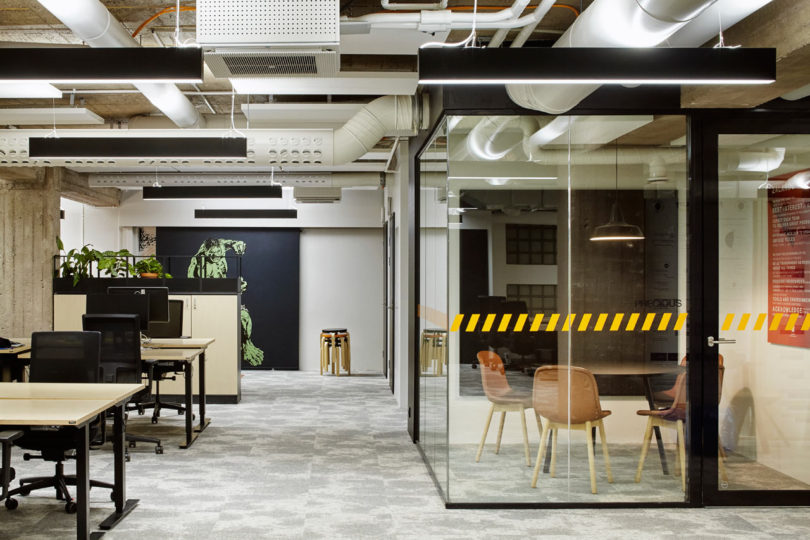 design fun office. Glass-enclosed Rooms Offer Privacy For Phone Calls, Meetings, Or Quiet Work Time. Design Fun Office