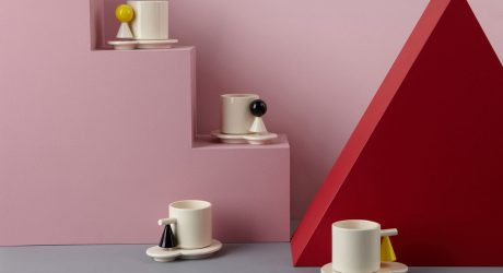 Geometric Mugs and Saucers Inspired by the Bauhaus Movement