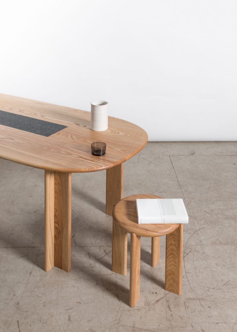 Amazing The table is currently available in ash white oak or walnut u each with a wool trivet