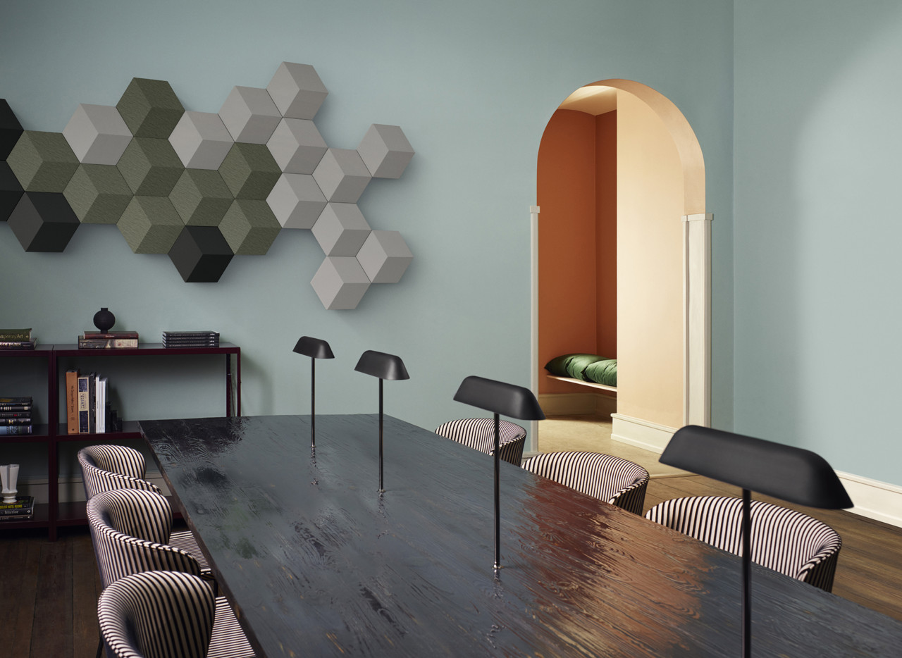 the beosound shape is a modular audio system designed to color walls with sound - Shape In Interior Design