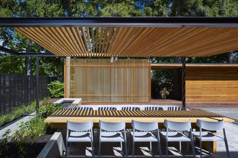 A backyard pavilion and pool for the perfect escape for Pool pavilion designs