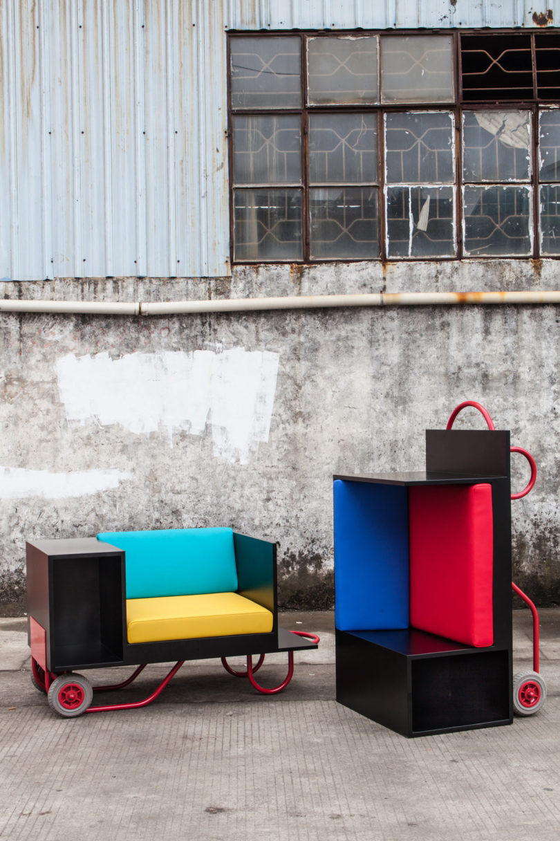 Flexible movable furniture inspired by hand trucks for Furniture hand truck