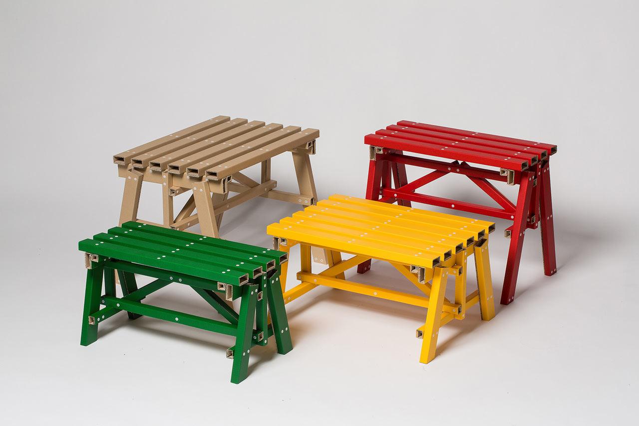 Basic Cardboard Becomes Self-Assembled Side Tables by designstudio PESI