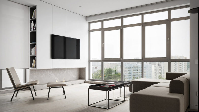 The Living Room Features Floor To Ceiling Windows Showcasing The Views With  An Open Floor Plan To Keep The Entire Interior Filled With Light.