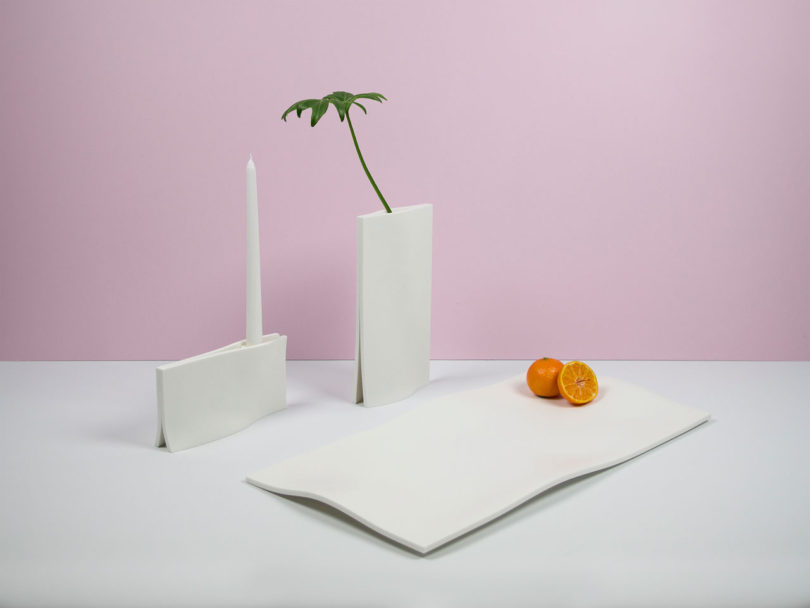 The Resulting Collection Features Three Tabletop Accessories Including A  Vase, Candleholder, And Serving Tray.
