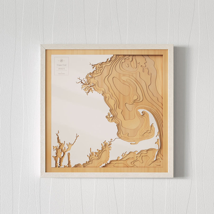 Boston Pangea Maps Wooden 3D Contour Maps
