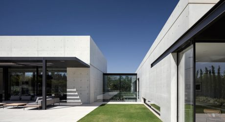 A Modern House Composed of Two Concrete Structures