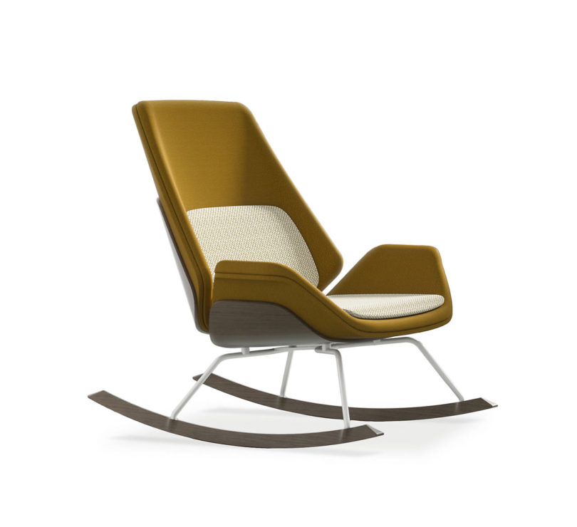 Perched On Solid Wood Runners And A Tubular Steel Base The Rockers Upholstered Seat Sits Nestled In Plywood Shells Adding To Its Classic Feel