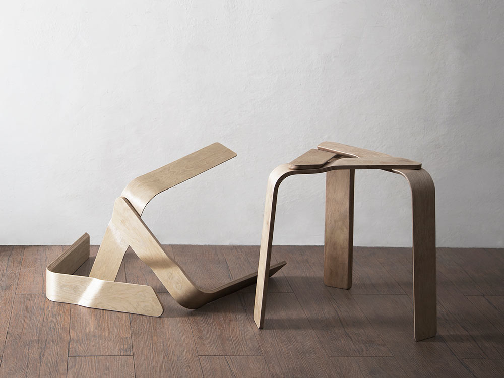 A Bent Plywood Stool Held Together with Strong Magnets