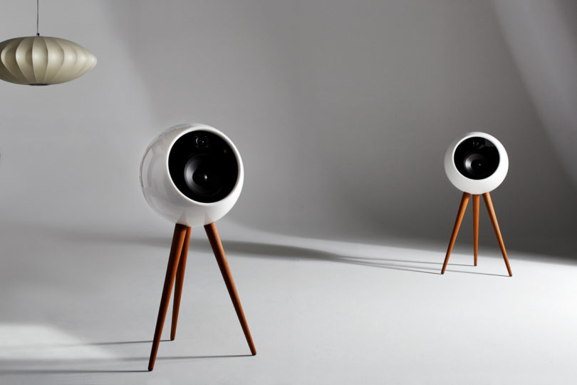bossa moonraker retro-futuristic stereo speaker system - design milk