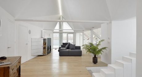 An Attic Apartment in Slovenia with a Faceted, Geometric Ceiling