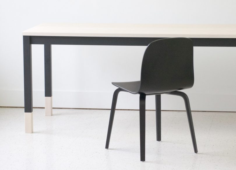 A minimalist table inspired by classroom desks from kroft for Tables and desks in the classroom