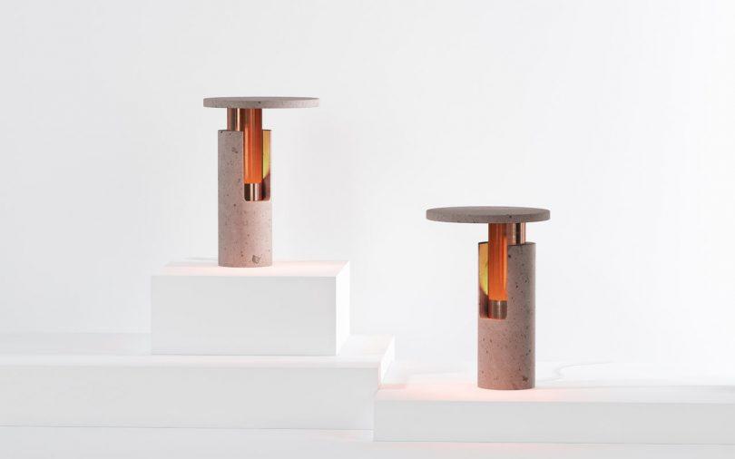 Ambra Rose Volcanic Rock Lamps by Studio davidpompa