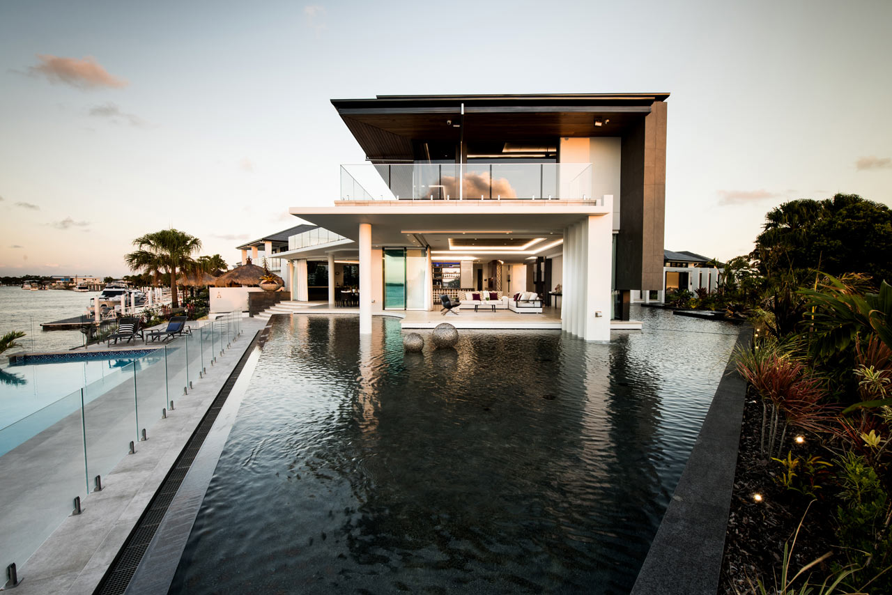 A Resort-Like Home on a Canal Surrounded by an Artificial Lagoon