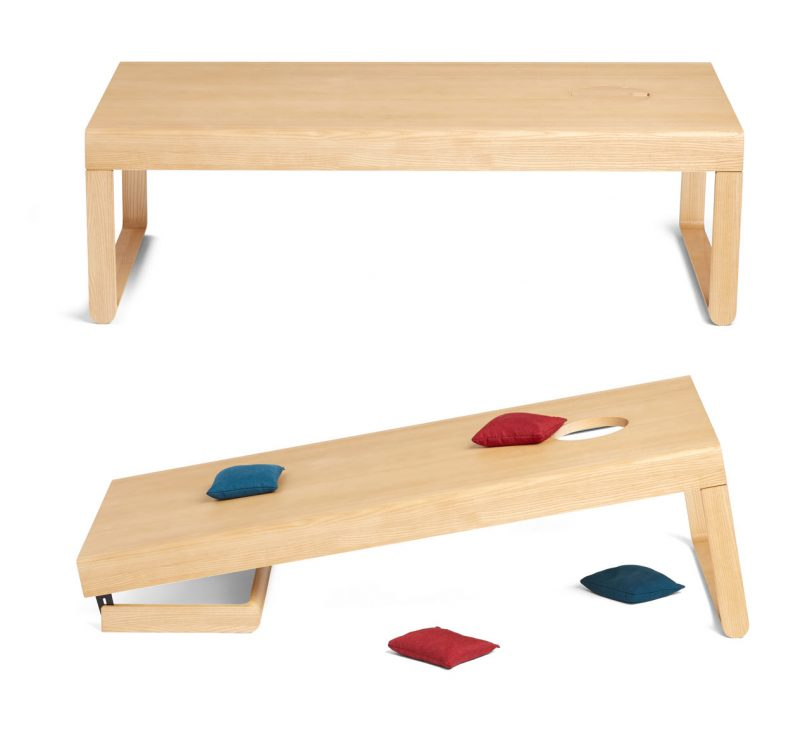 Poppin's Take Aim Coffee Table Easily Converts for a Game of Cornhole