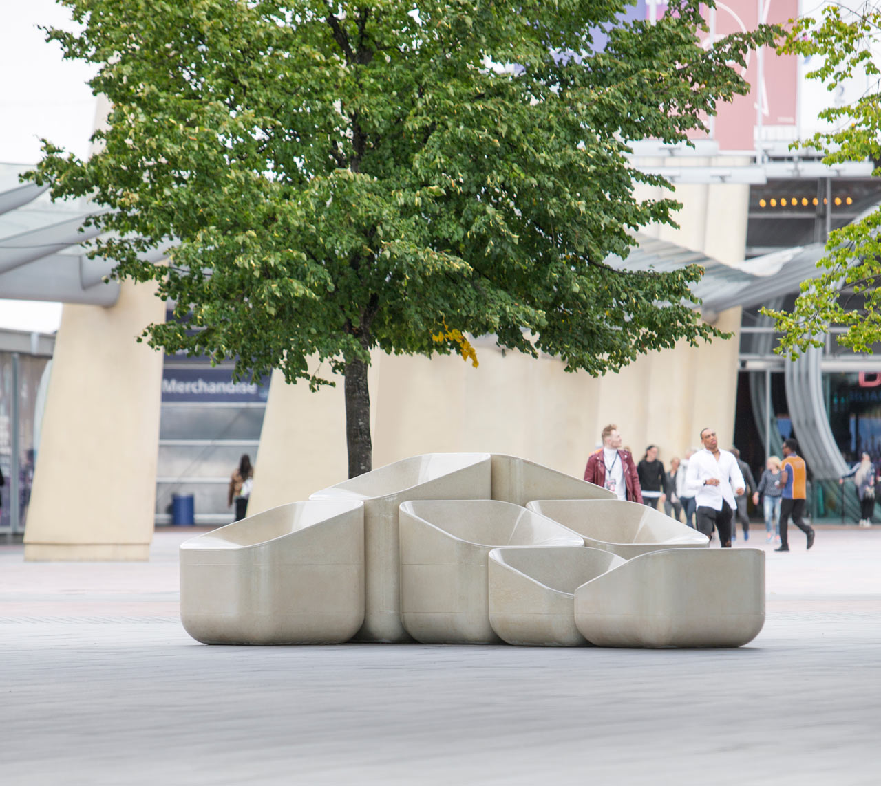 White Concrete Armchairs Designed by Raw Edges for Nesting
