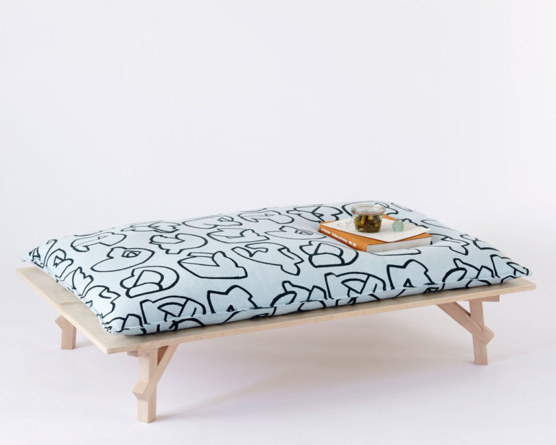 The Maple Furniture Pieces Are Rounded Out With Either Upholstered Cushions  In Their Abstract Textiles For The Bench And Day Bed Or Jesmonite Tops On  Their ...