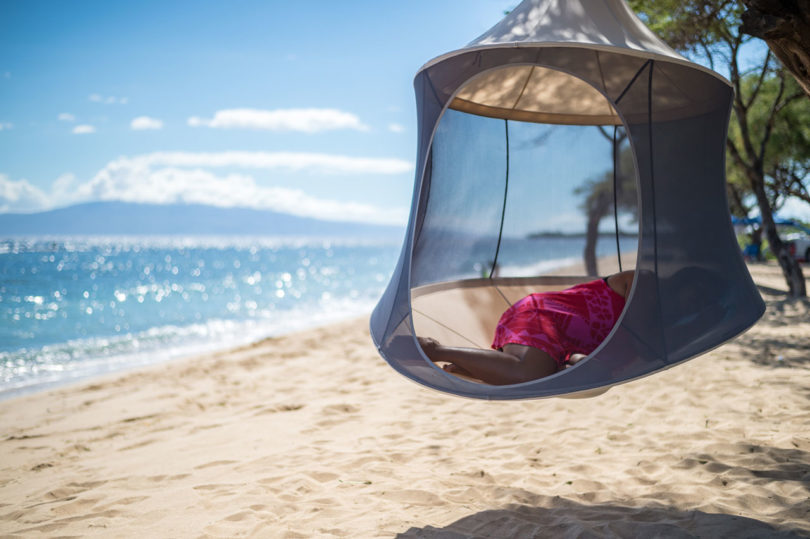 each one  es in a handy bag with everything you need to build and suspend it so carry it along on a hike or take it camping for a  fy place to escape     treepod  a portable hanging hammock like cabana   design milk  rh   design milk