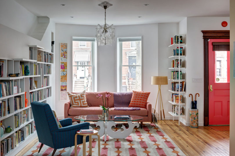 Front Design Of Row House Part - 48: The Main Living Area Is Open And Spans 20 X 50 Feet With 10 Foot Tall  Ceilings. The Built-in Bookcase Goes From The Front To The Back Of The House  With An ...
