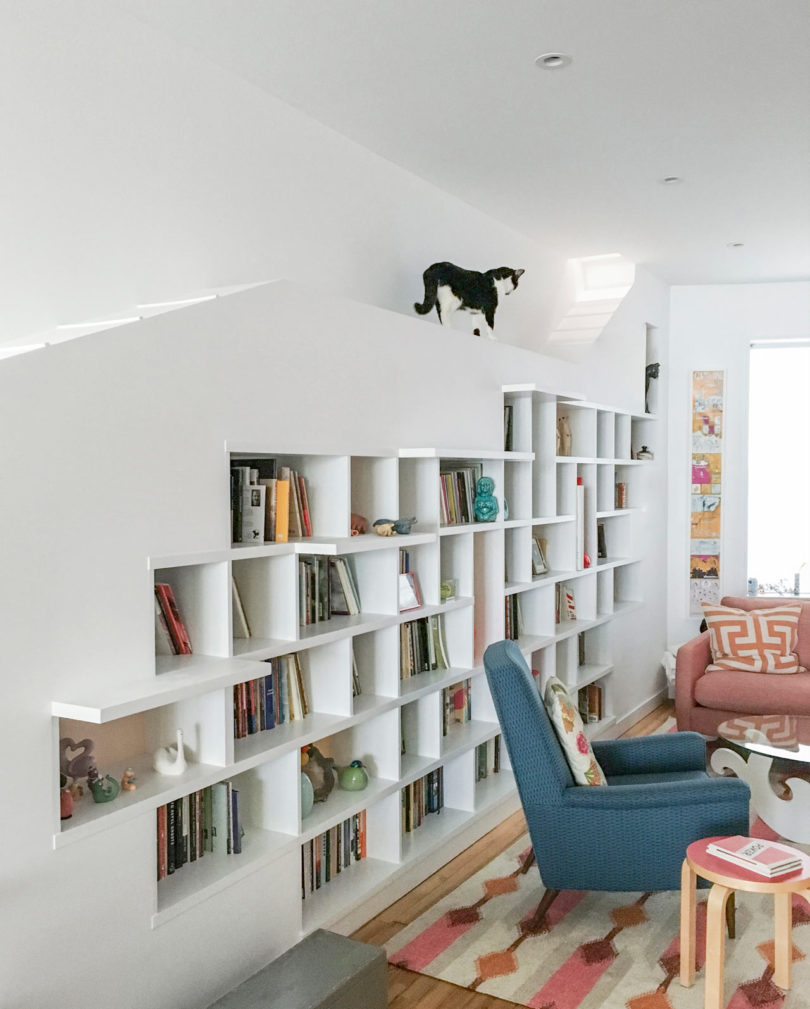 A brooklyn row house designed for cats and booklovers design milk some of the shelves project out giving the cats places to climb at either end of the room they installed trap doors that allow the cats access to the amipublicfo Image collections