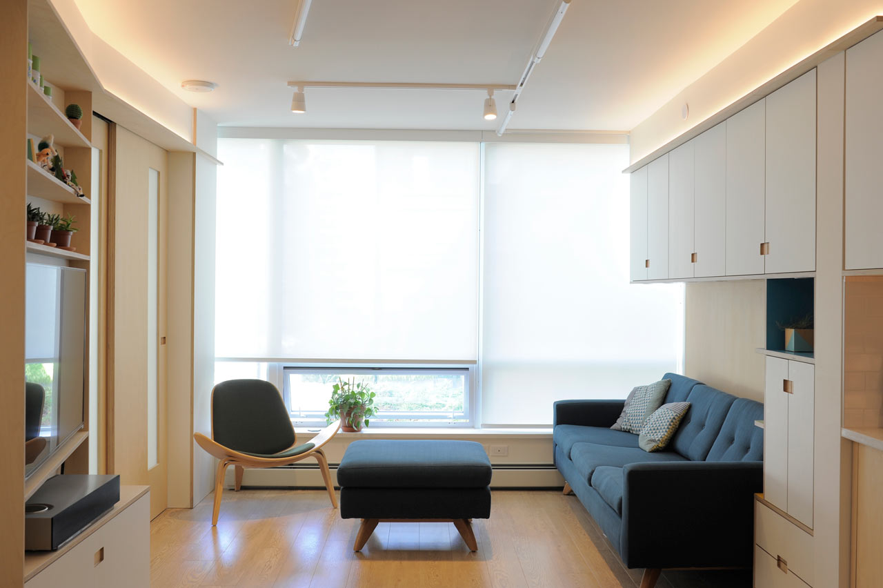 A 600 square foot apartment that maximizes every inch for Interior design 600 sq ft flat