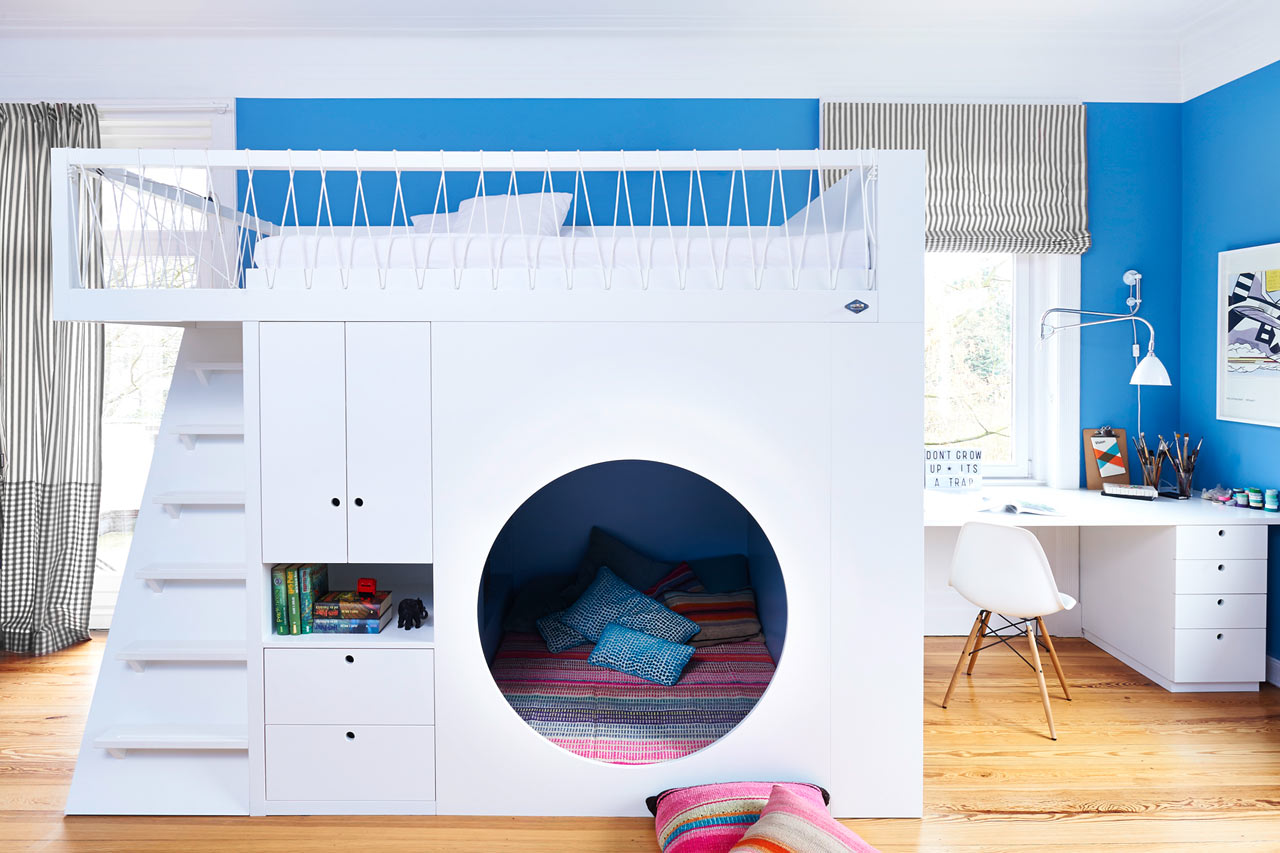 10 modern kids rooms with not your average bunk beds for Futon kids room