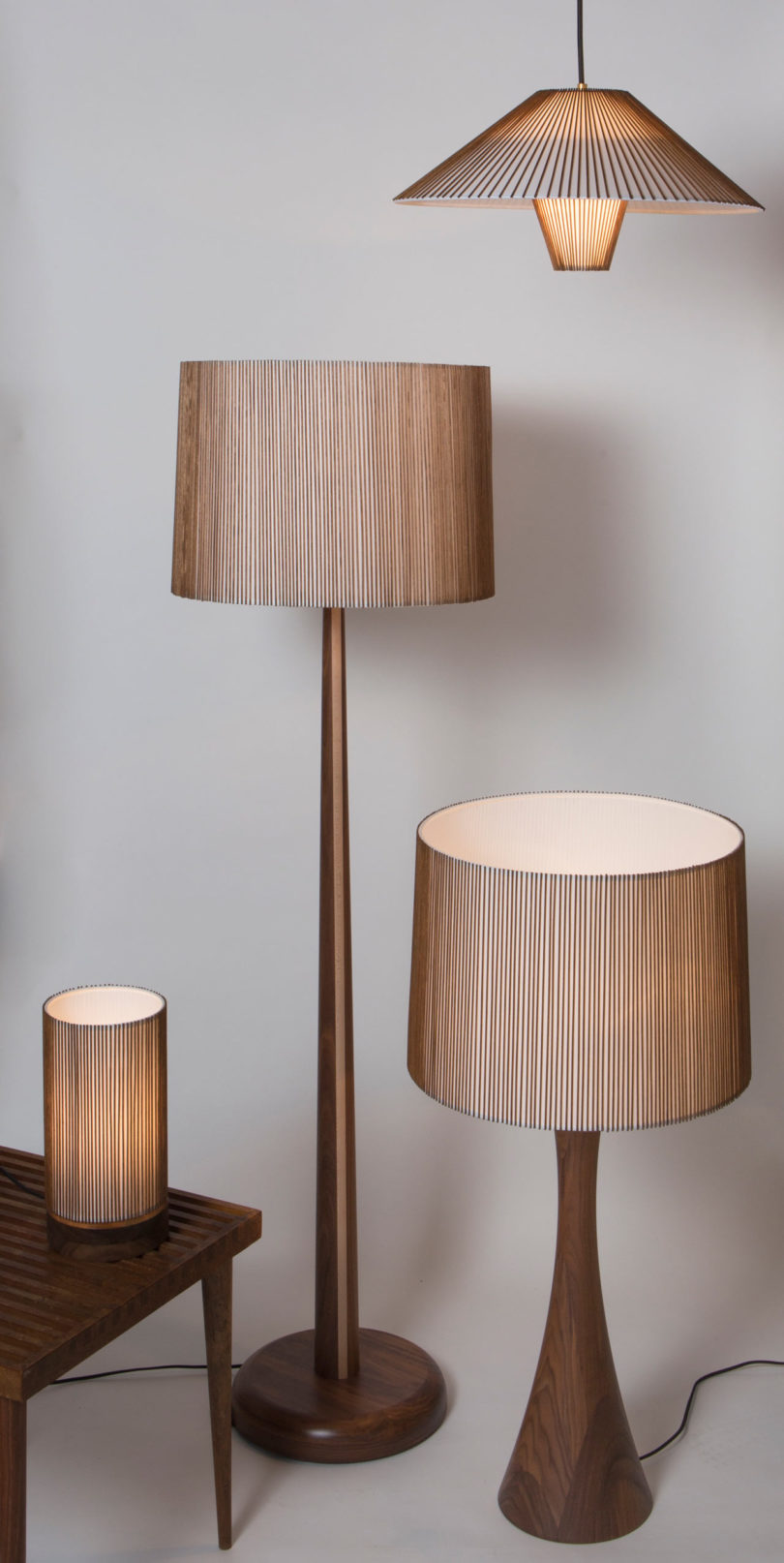 Smilow design launches authentic mid century lighting designs there are four designs being launched two table lamps a hanging pendant and a floor lamp each fixture merges sculptural forms with a mid century geotapseo Gallery