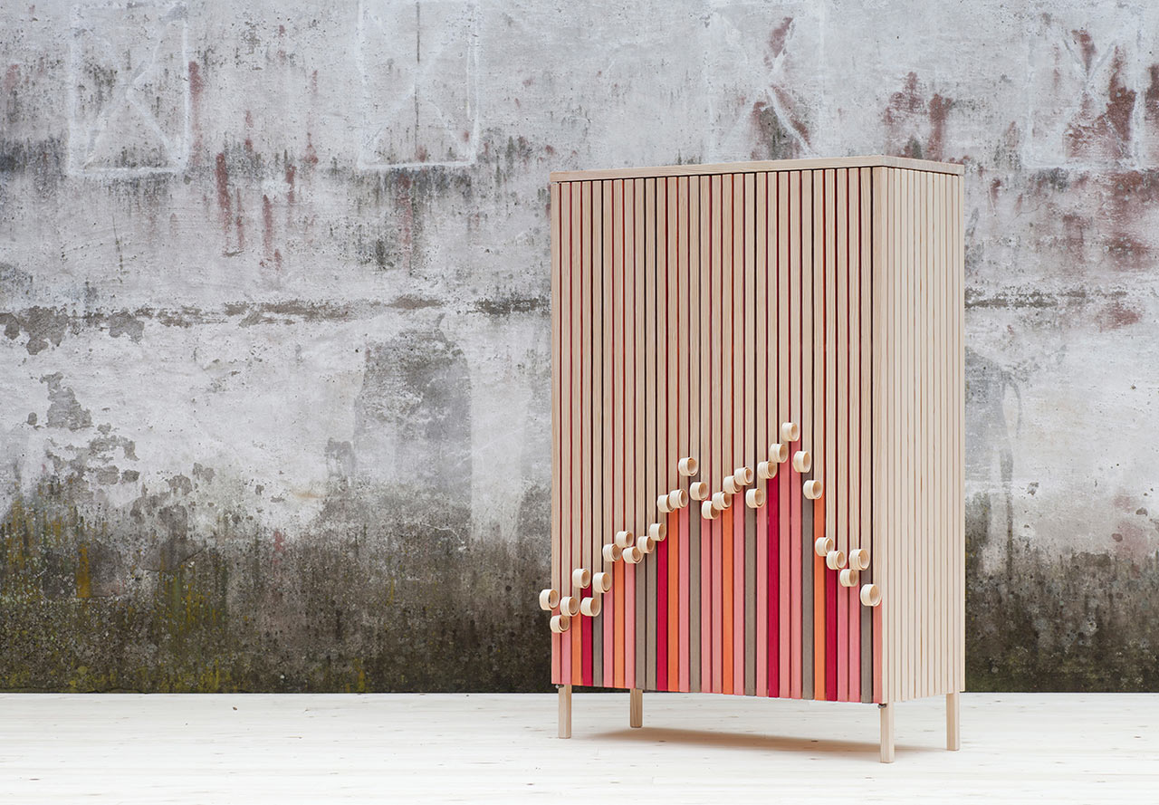 The Peeling Whittle Away Cabinet by Stoft studio