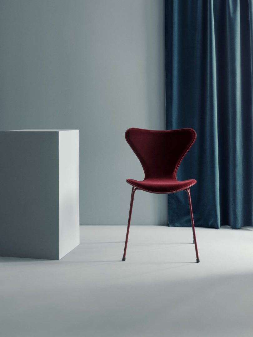 ... Chair In Lala Barberry (burgundy), And A Fully Upholstered Series 7  Chair And Dot™ Stool In The Lala Capsian (blue) Color. The Limited Edition  Chairs ...