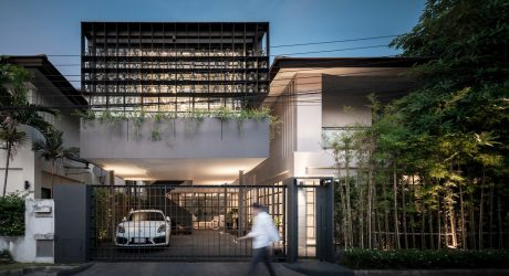 A Bangkok House with a Steel Facade Filled with Plants by Anonym