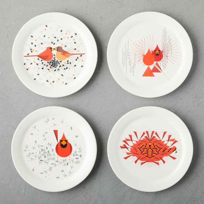 Dessert Plates Cardinals (set of 4) & West Elm Unveils the Fishs Eddy Charley Harper Collection - Design Milk