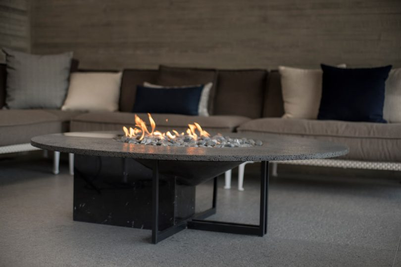 Peca Designs UMO Fire Pit Made From Volcanic Rock, Marble and Metal