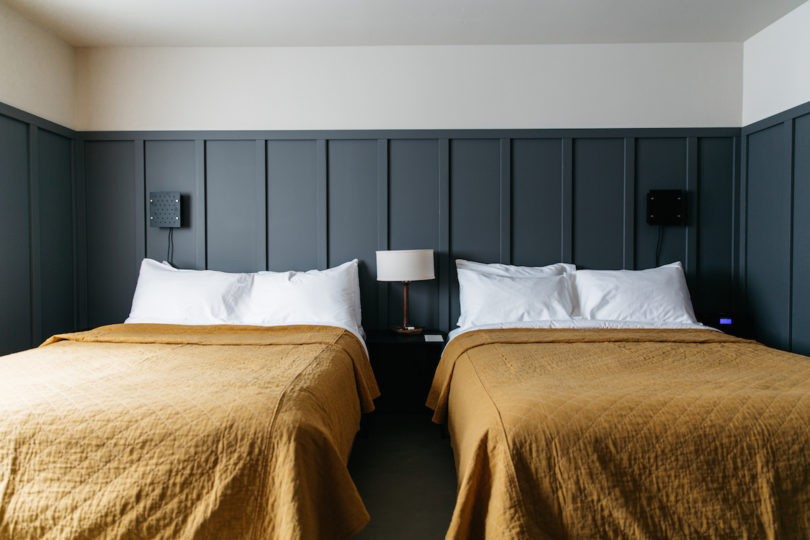 Vintage In every room you ull find a curated minibar not your average Snickers and chips Apple TV Frette linens and towels Woolrich blankets and Malin Goetz