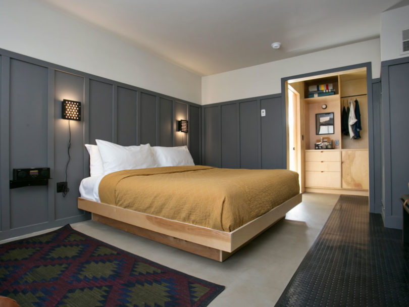 Ideal In every room you ull find a curated minibar not your average Snickers and chips Apple TV Frette linens and towels Woolrich blankets and Malin Goetz