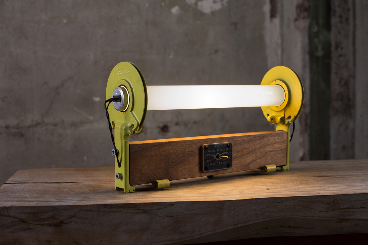Lighting Made with Aluminum Aerospace Parts and Wood by Alper Nakri
