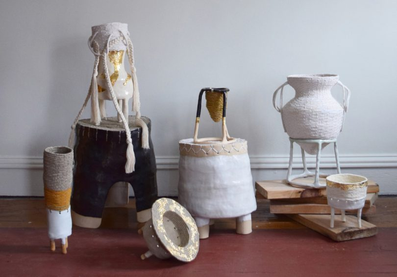 Karen Gayle Tinney Incorporates Mixed Fiber and Ceramics in Her New One-Of-A-Kind Collection