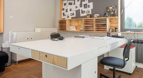 A Modern Office in Poland with Modular Elements Made of Plywood