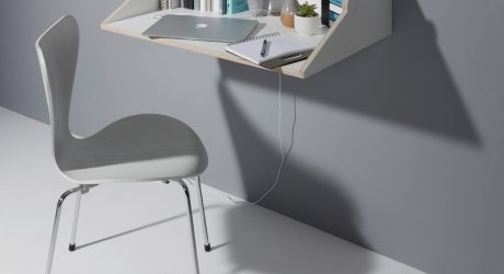 twofold Space Saving Wall Shelf/Desk Hybrid by studio michael hilgers