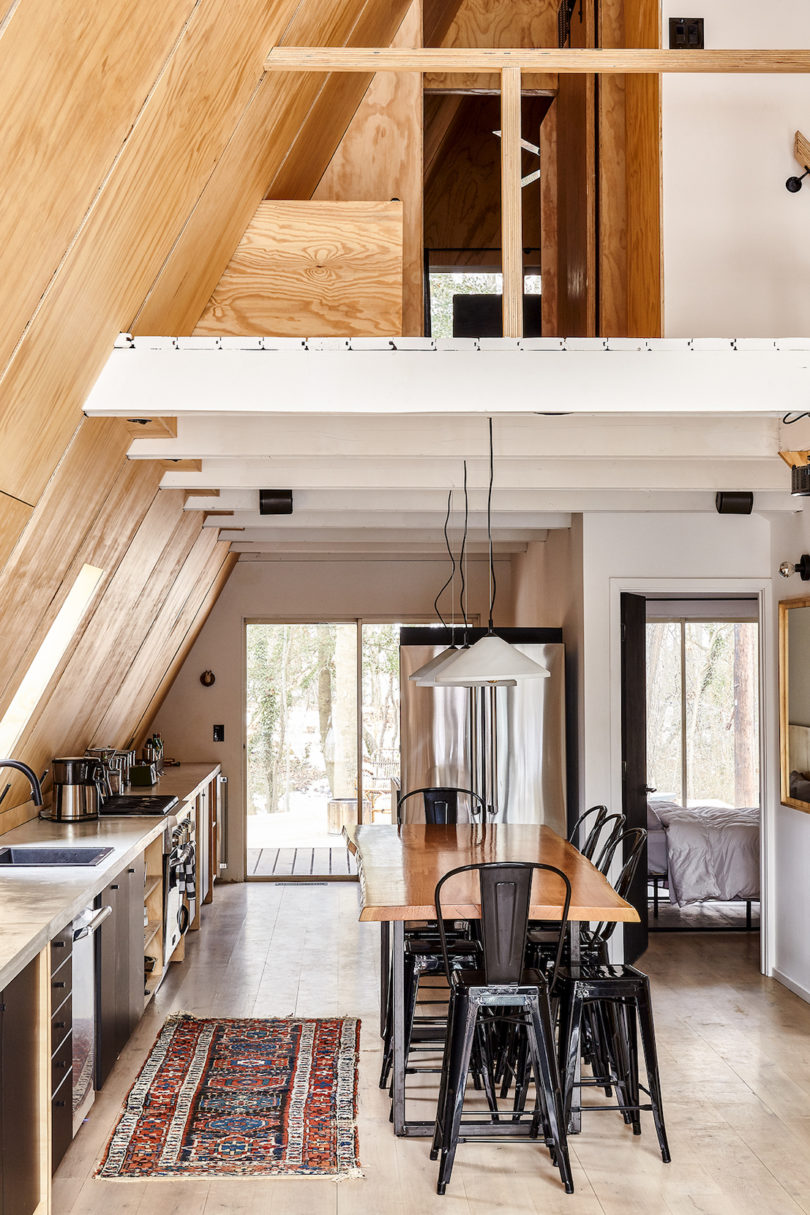 Take a retreat to this scandinavian modern a frame cabin for A frame interior