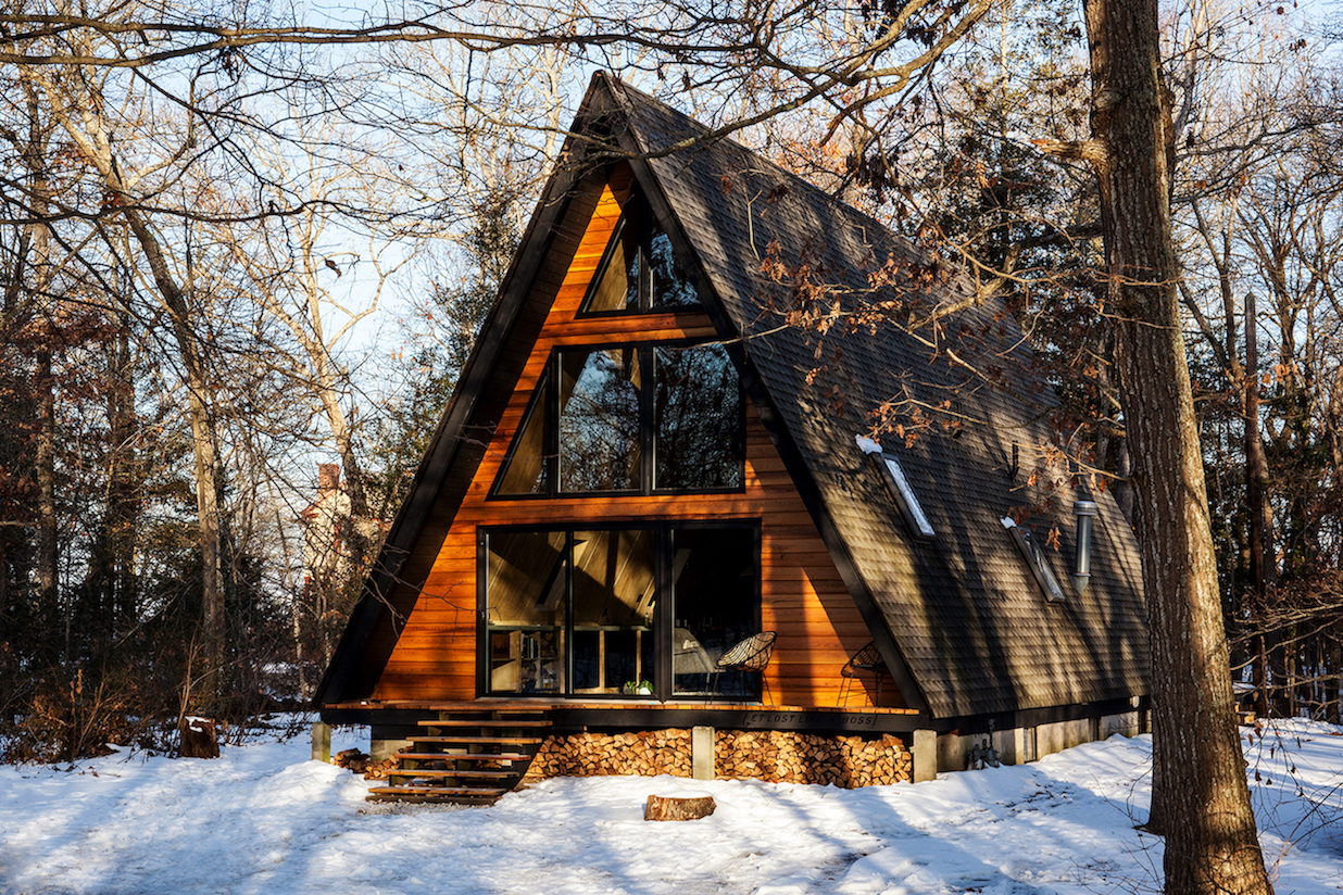 Take a retreat to this scandinavian modern a frame cabin for Modern a frame homes