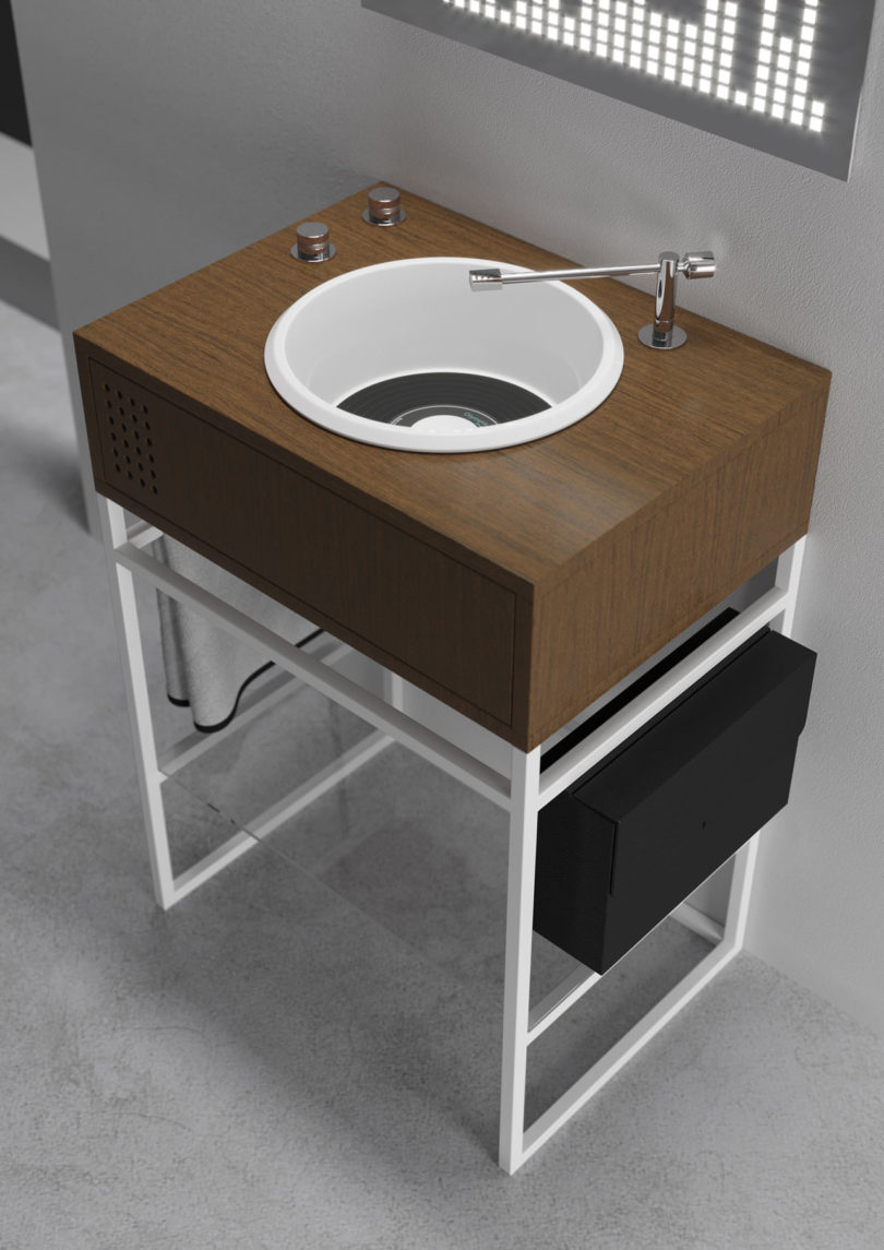 For More Of The Record Player Look, The Faucet Resembles The Arm That Holds  The Stylus And The Knobs On The Turntable That Adjust The Audiou0027s Volume  Are ...