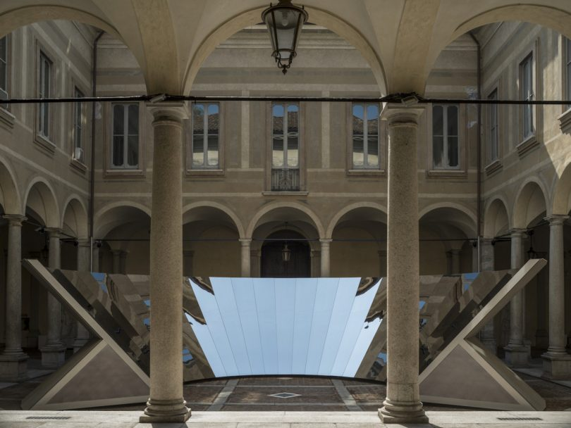 COS and Phillip K. Smith III Unfolds the Milanese Sky in a Reflective Mirror Installation