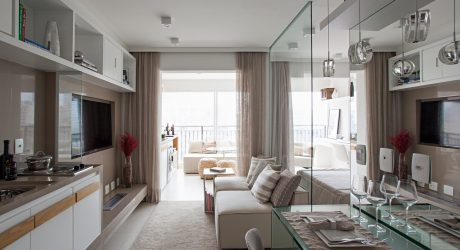 A Neutral Color Palette and Glass Elements Transform a Compact 35m2 Apartment