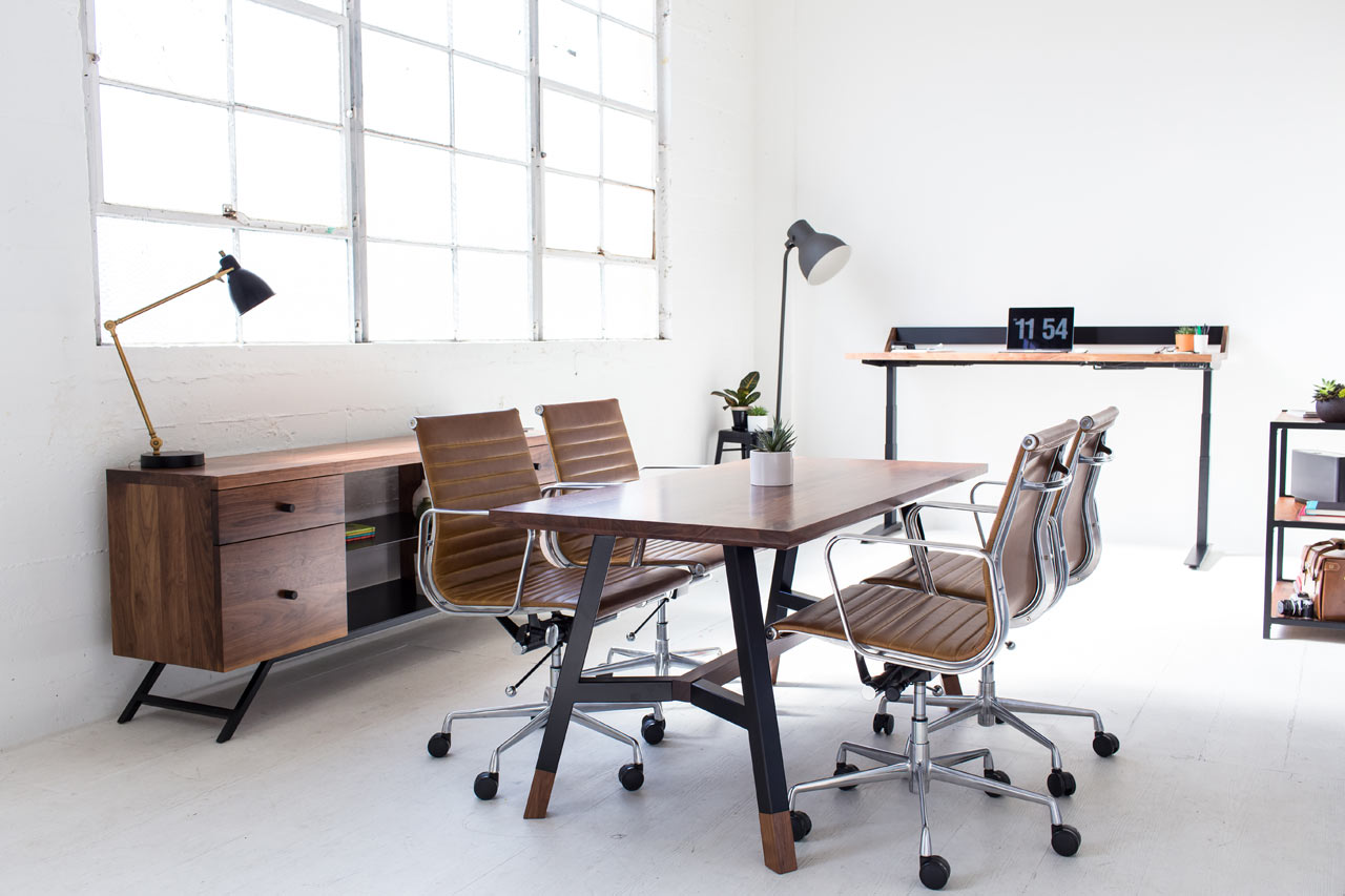 Harkavy Furniture Creates Modern Walnut Steel Office