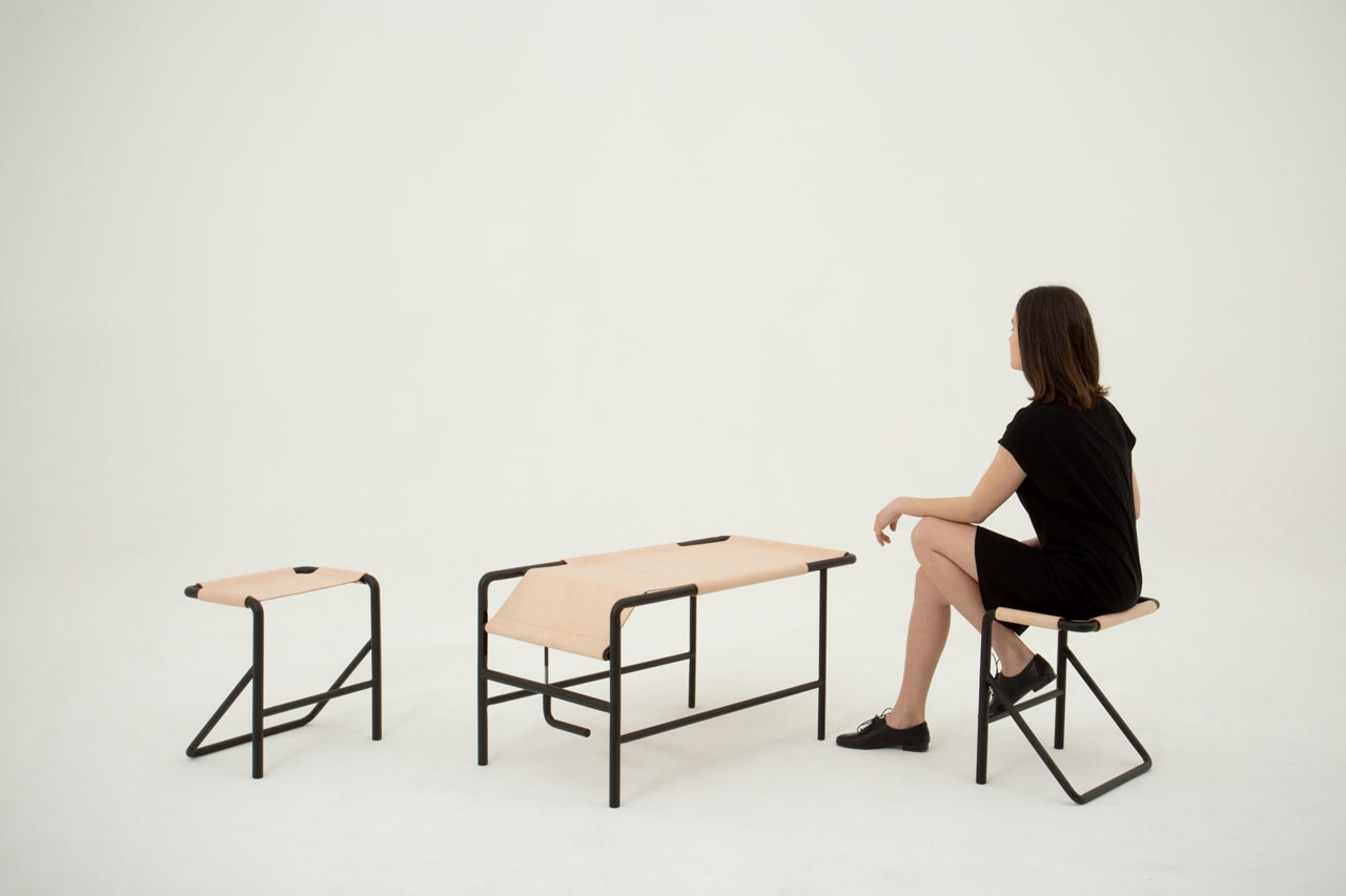 Isola: A Leather Coffee Table by Pierre-Emmanuel Vandeputte