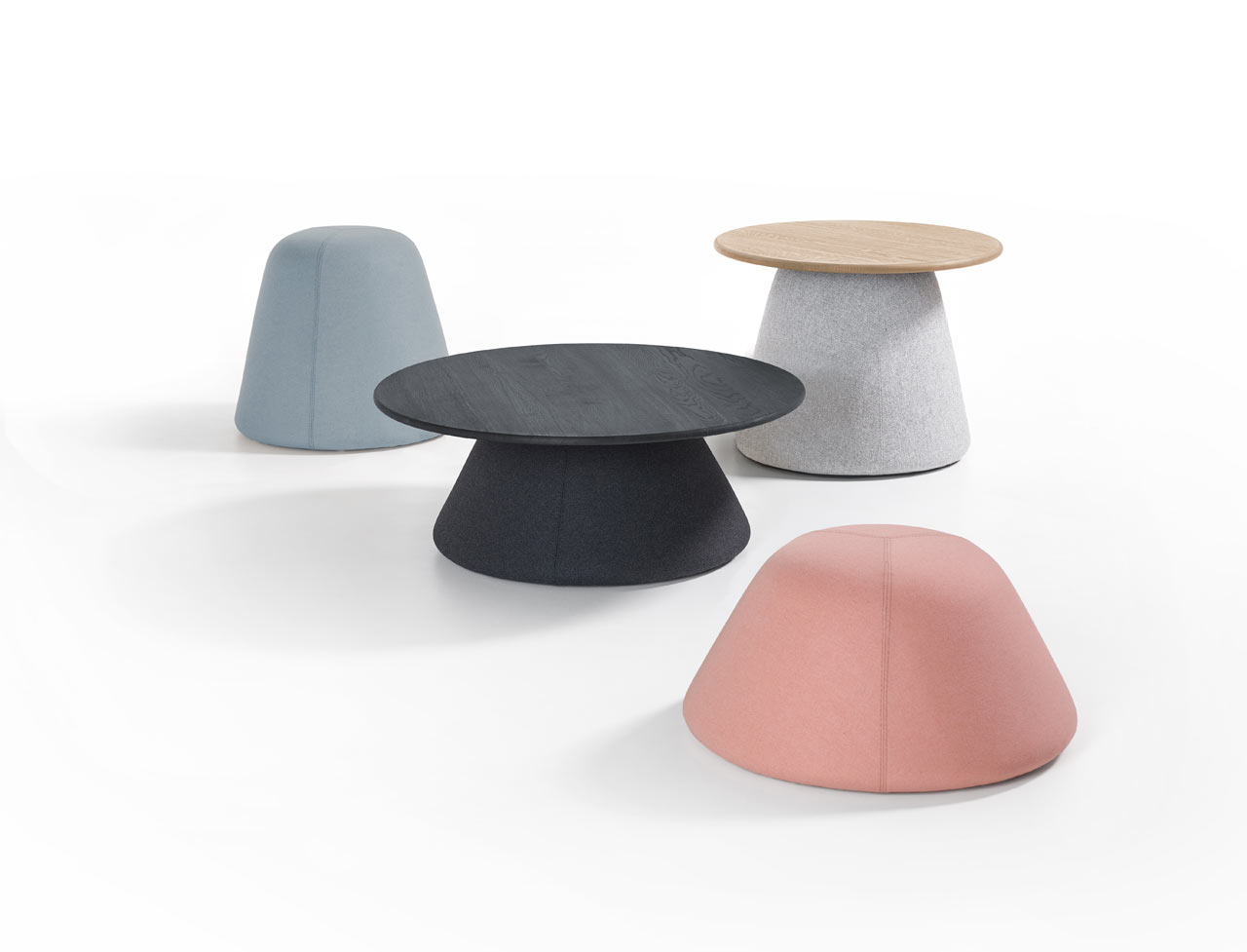 Terp Upholstered Tables and Poufs Inspired by Dutch Mounds