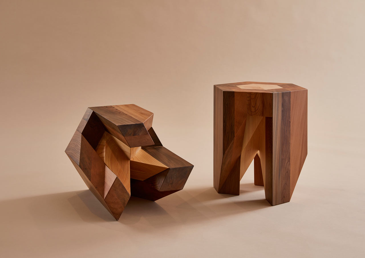 The Japanese Puzzle-Inspired Solid Wood Yose-gi Stool by TAMEN