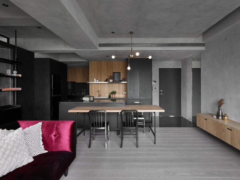 KC Design Studio Designs a Moody Black Apartment for a Single Person