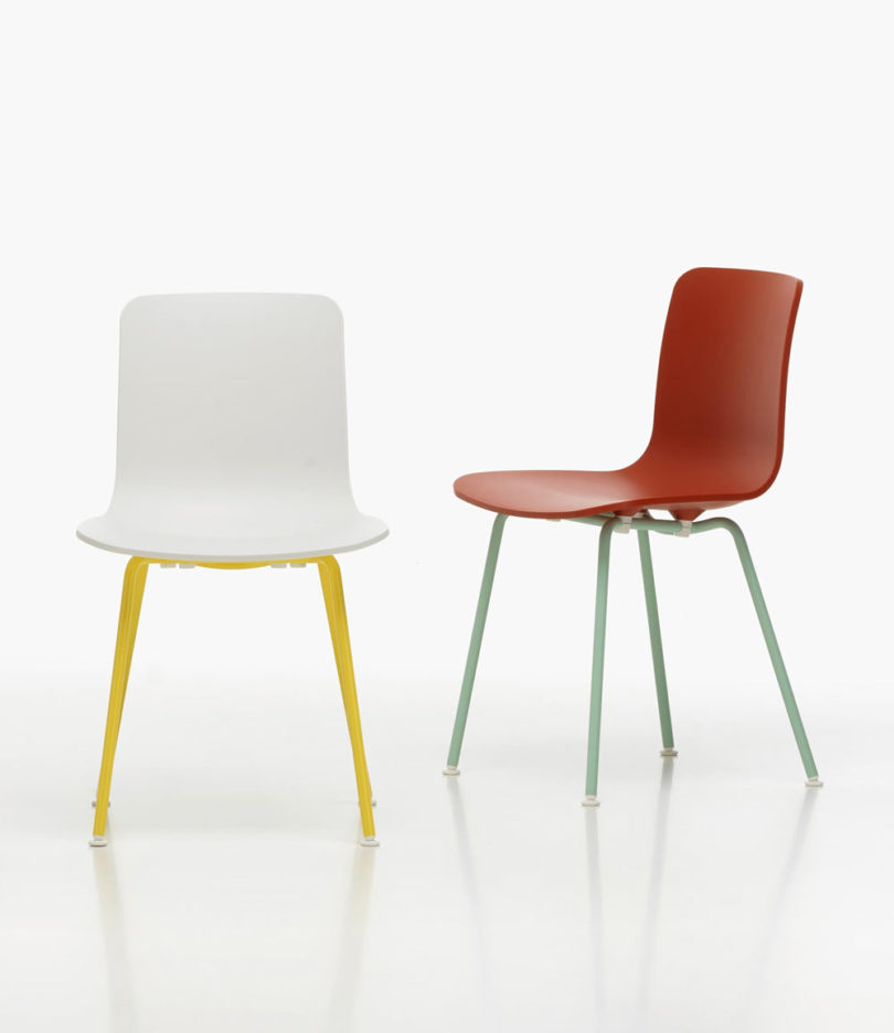 Colorful polypropylene seat shells are paired with a coordinating four-legged tubular steel base that work for outdoors. The white/buttercup and the ice ... & Refresh Your Patio Dining Set with Vitrau0027s HAL Colour Tube Chairs by ...